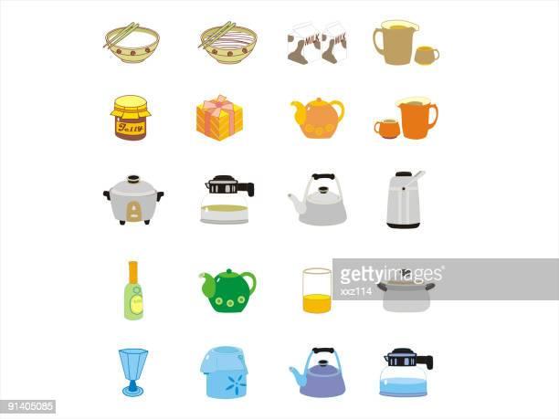 ilustraciones, imágenes clip art, dibujos animados e iconos de stock de kitchenware y recipientes - al vapor
