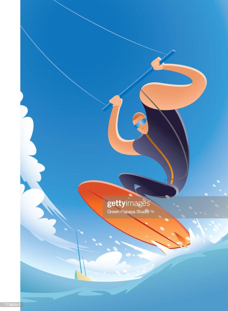 A kite surfer in action : Illustration