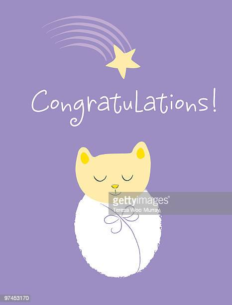 a kitten bundled up like a baby and the word congratulations - baby blanket stock illustrations, clip art, cartoons, & icons