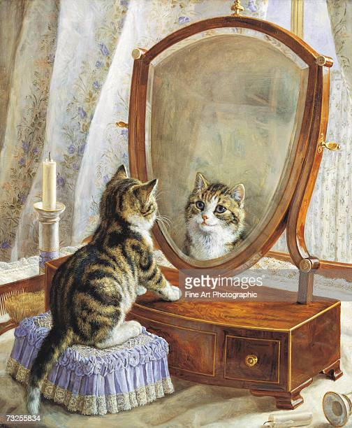 A kitten looking at itself in a dressing table mirror circa 1900 Original artist Frank Paton