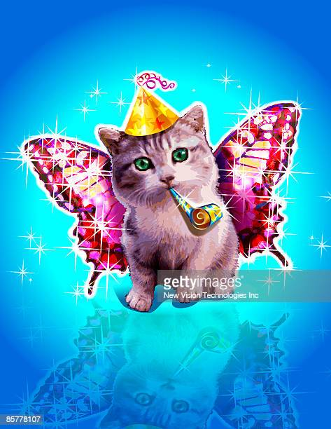 Kitten with party horn blower, party hat and wings