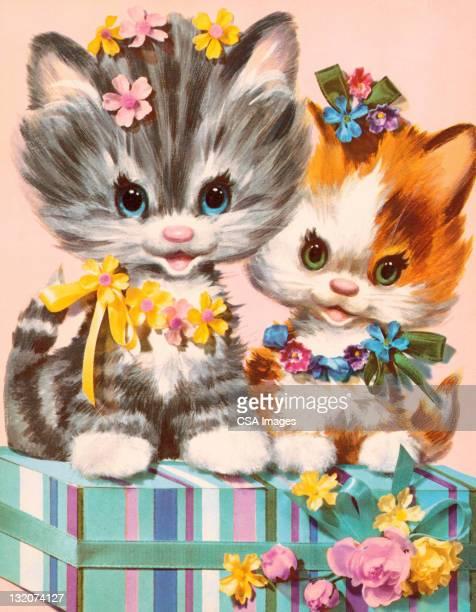 kittens on gift - two animals stock illustrations