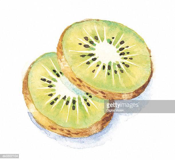 ilustrações de stock, clip art, desenhos animados e ícones de kiwi fruit slices - fruta kiwi