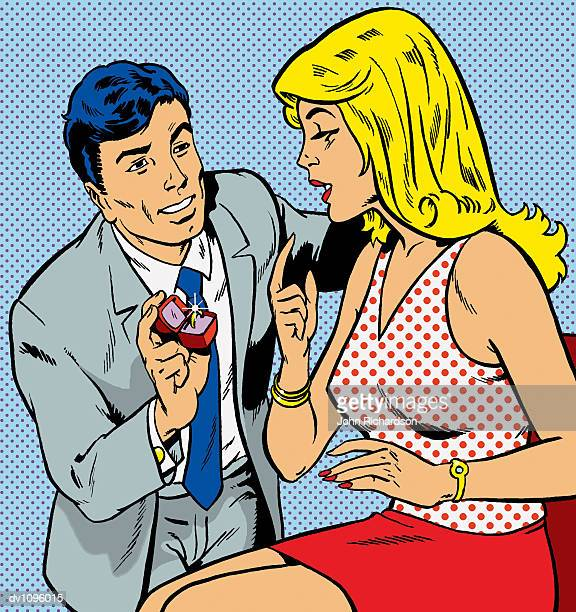 kneeling man giving an engagement ring to a woman - adulation stock illustrations, clip art, cartoons, & icons