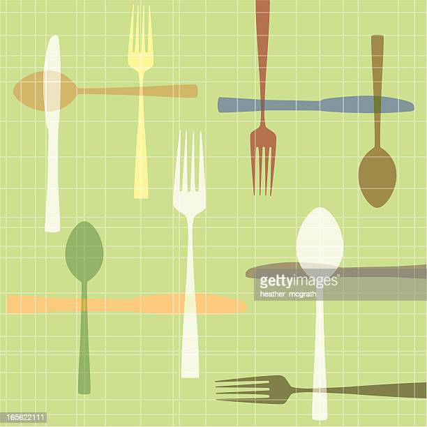 knife fork spoon - tablecloth stock illustrations, clip art, cartoons, & icons