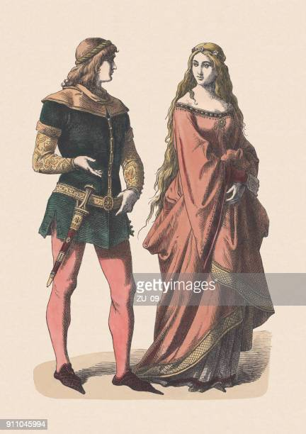 knight and noblewoman, 14th century, hand-colored woodcut, published c.1880 - circa 14th century stock illustrations, clip art, cartoons, & icons