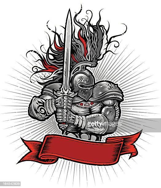 ilustrações, clipart, desenhos animados e ícones de bandeira de cavaleiro - fighting stance