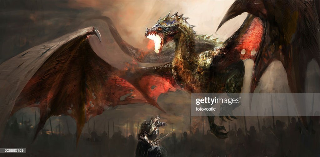 knight fighting dragon : Stock Illustration
