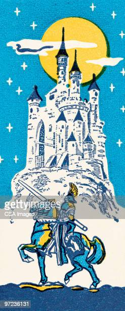 knight going to a castle - prince royal person stock illustrations