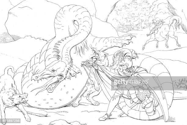 knight in fight with the dragon - central europe stock illustrations, clip art, cartoons, & icons