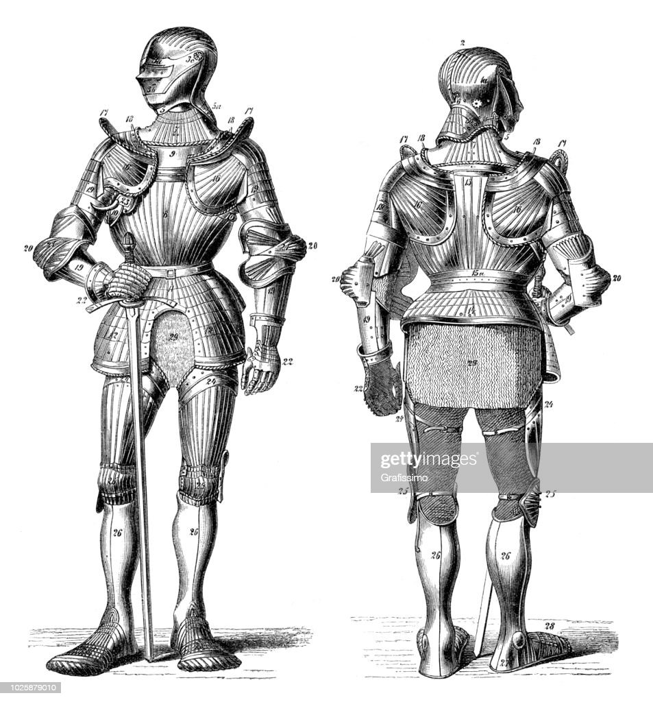 Knight in metal medieval armory : stock illustration