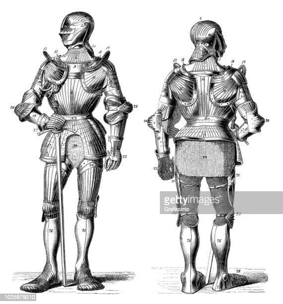 ilustraciones, imágenes clip art, dibujos animados e iconos de stock de caballero en armería medieval metal - edad media