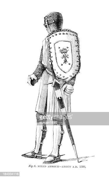 knight in mixed armour - helmet visor stock illustrations, clip art, cartoons, & icons