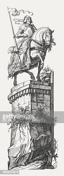 knight on a wall, wood engraving, published in 1860 - cavalier cavalry stock illustrations, clip art, cartoons, & icons