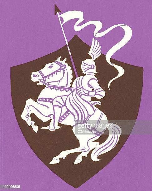 knight on rearing horse - horseback riding stock illustrations, clip art, cartoons, & icons