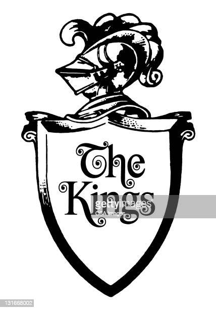 knight shield says the kings - ruler stock illustrations