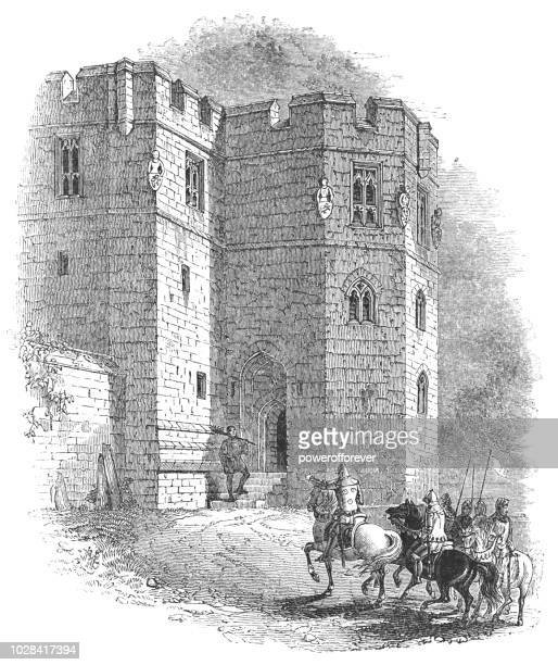 knights approaching the entrance of warkworth castle in warkworth, england - northeastern england stock illustrations, clip art, cartoons, & icons