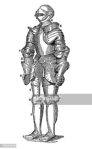 Knight's armor antique engraving