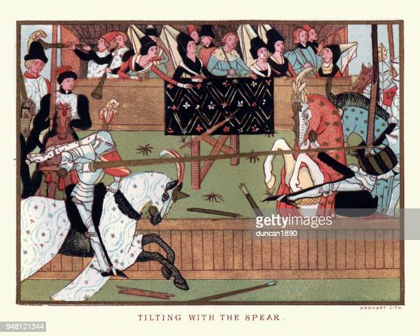 knights jousting with lances in a medieval tournament - circa 14th century stock illustrations, clip art, cartoons, & icons