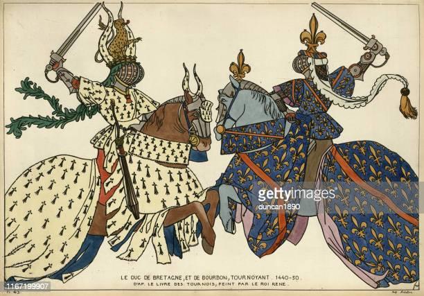 ilustraciones, imágenes clip art, dibujos animados e iconos de stock de caballeros, torneo medieval, duques de bretaña y borbón en combate - duque