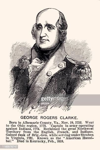 """ilustrações, clipart, desenhos animados e ícones de george rogers clark (xxxl), conhecido como """"o hannibal americano"""". - american revolution"""