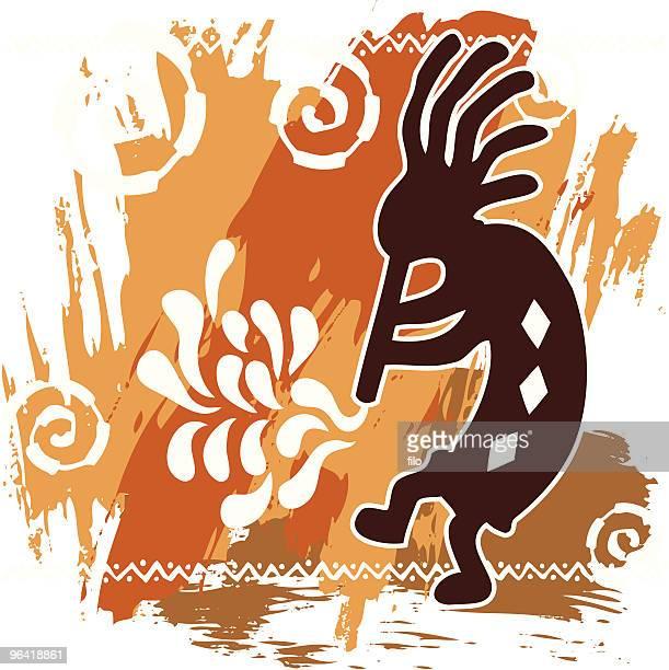 ilustraciones, imágenes clip art, dibujos animados e iconos de stock de kokopelli - pintura rupestre