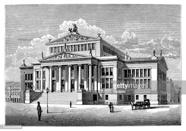 konzerthaus berlin, built by karl friedrich schinkel - konzerthaus berlin stock illustrations