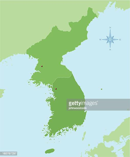 korea map - south korea stock illustrations, clip art, cartoons, & icons