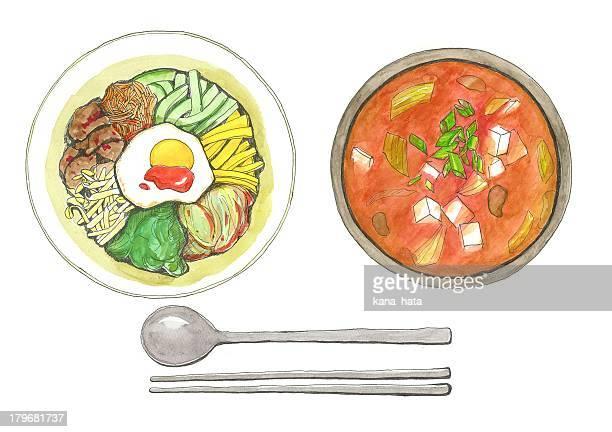 korean food - food stock illustrations