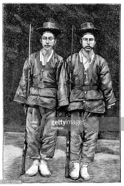 korean soldiers - korean war stock illustrations, clip art, cartoons, & icons