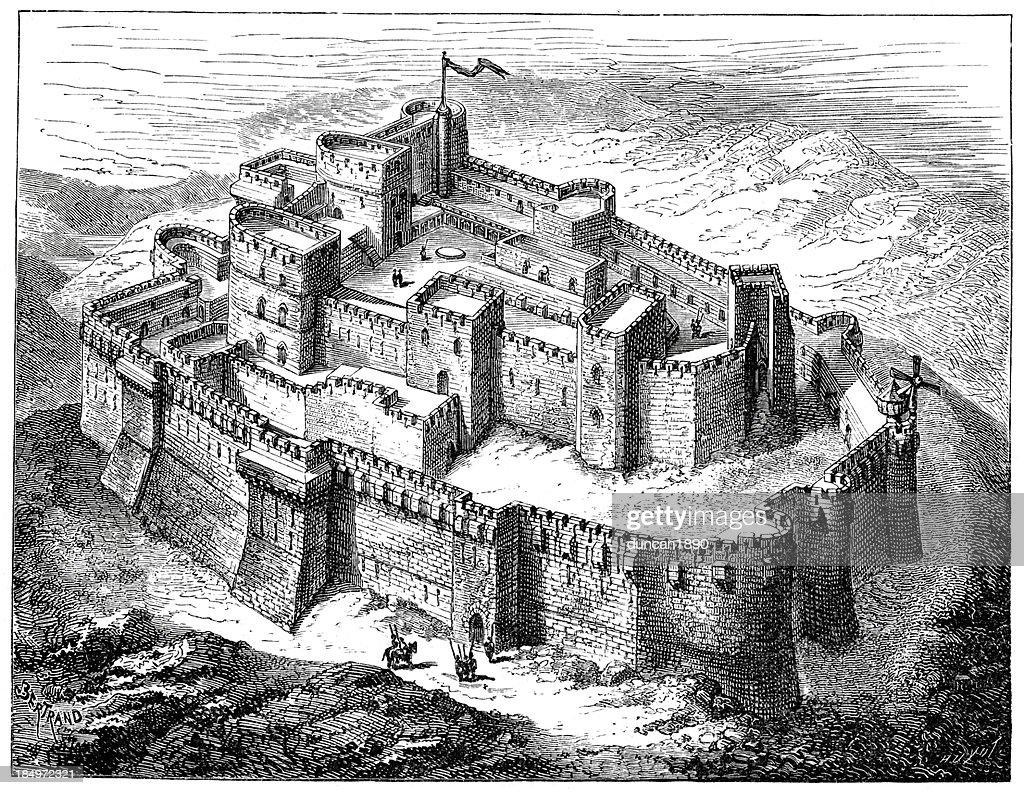 Krak des Chevaliers Crusader Castle : stock illustration