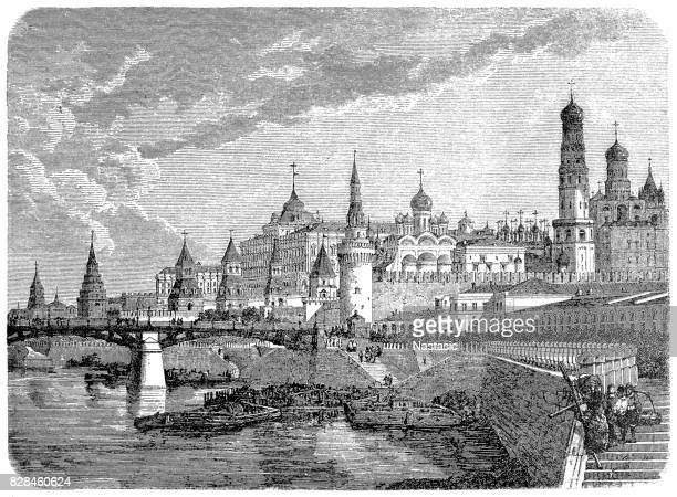kremlin in moscow - red square stock illustrations, clip art, cartoons, & icons