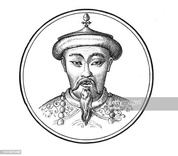 kublai khan of the mongol empire - corona zon stock illustrations