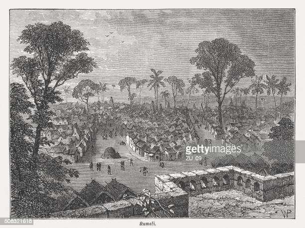 kumasi - metropolis in ghana, wood engraving, published in 1882 - ghana stock illustrations, clip art, cartoons, & icons