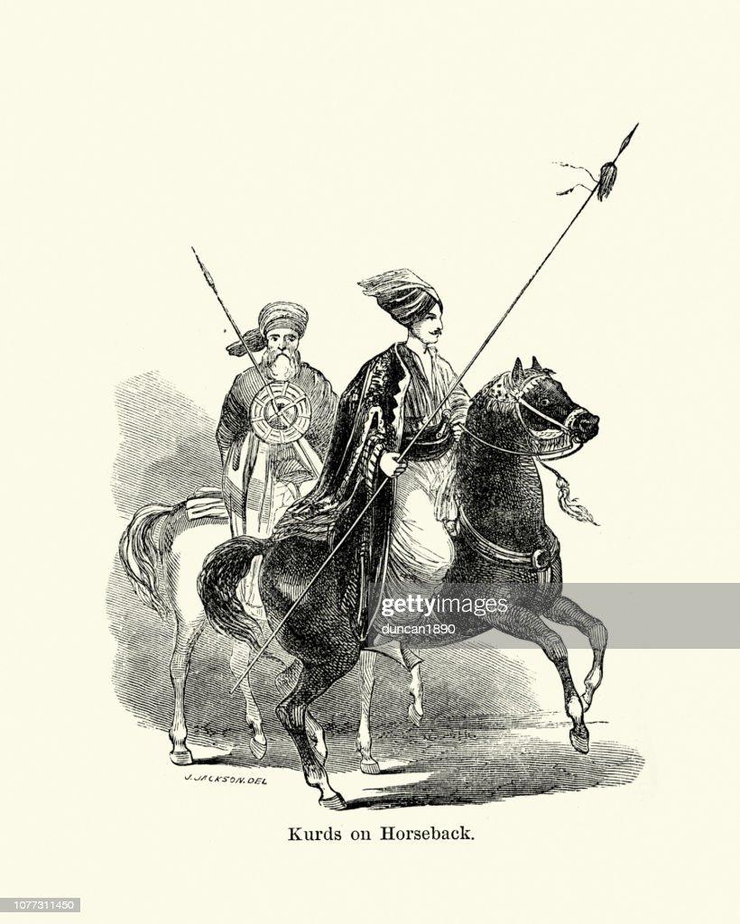 Kurdish warriors on horseback carying lance, 19th Century : stock illustration