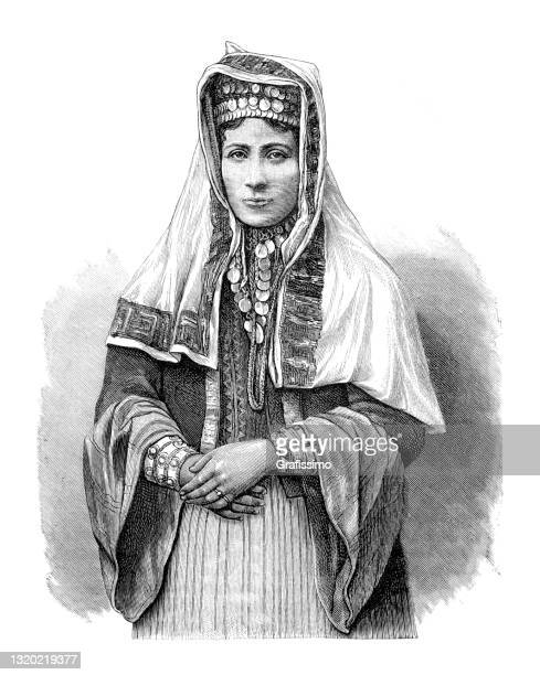 kurdish woman with traditional clothing 1889 - kurdish ethnicity stock illustrations