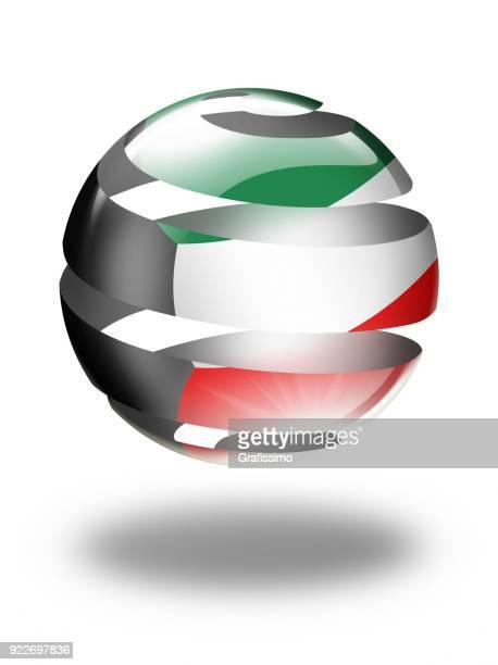 kuwait button with kuwaiti flag isolated on white - kuwait stock illustrations, clip art, cartoons, & icons