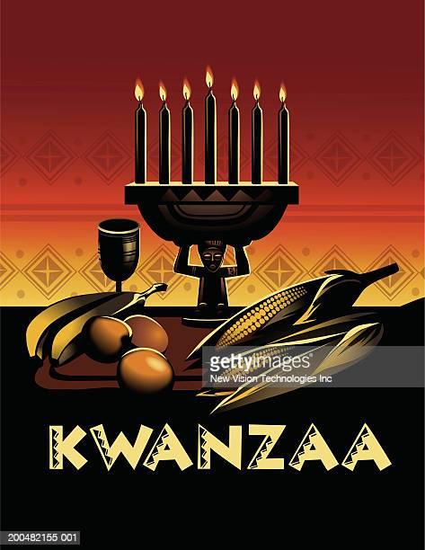 'kwanzaa' with food items, kinara and kikombe cha umoja - kwanzaa stock illustrations, clip art, cartoons, & icons