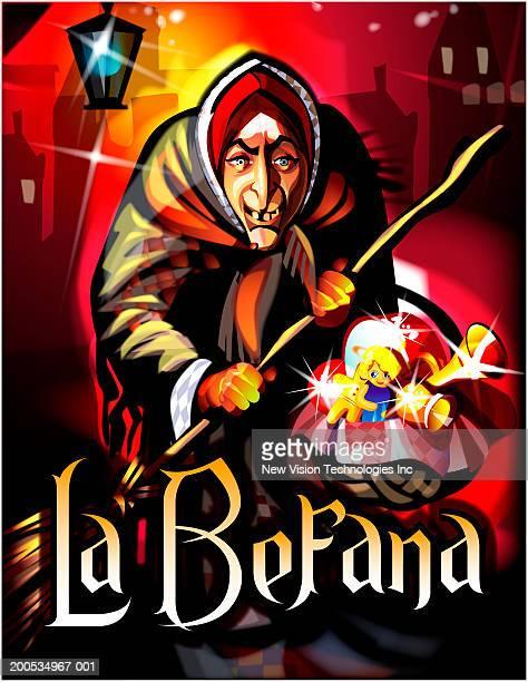 ilustraciones, imágenes clip art, dibujos animados e iconos de stock de la befana carrying broom and basket of toys and gifts - stealth