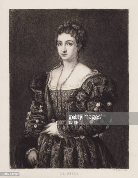 la bella, painted (c.1536) by titian, palazzo pitti, florence, italy - tiziano vecellio stock illustrations, clip art, cartoons, & icons