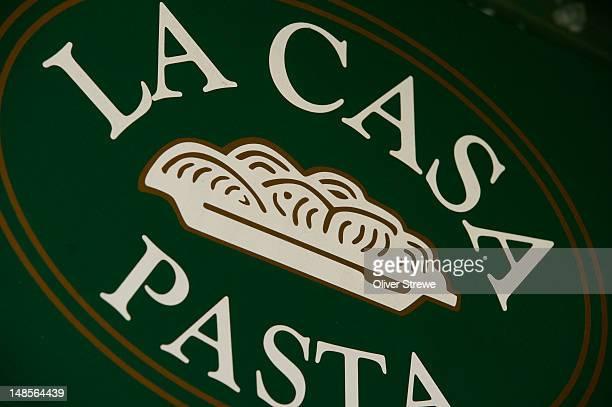 la casa della pasta restaurant sign, 37 dixon st. - capital letter stock illustrations