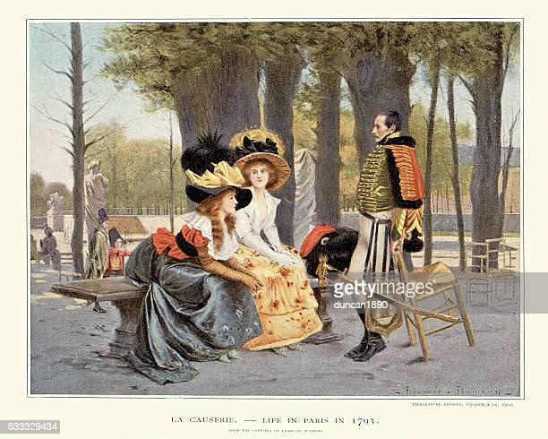 la causerie - life in paris in 1793 - 18th century stock illustrations
