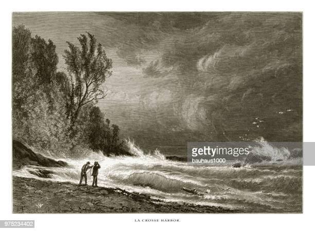 la crosse harbor, lake superior, minnesota, united states, american victorian engraving, 1872 - geology stock illustrations