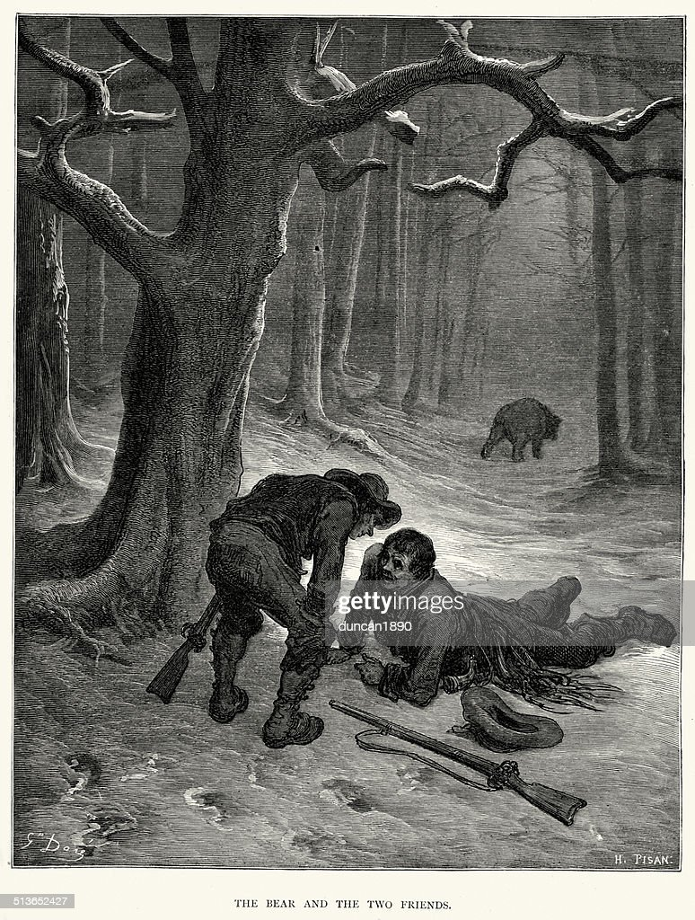 La Fontaine's Fables - Bear and the Two Friends : stock illustration