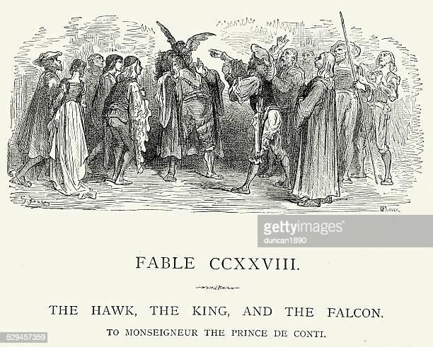 ilustrações de stock, clip art, desenhos animados e ícones de la fontaine fábulas-do-rei e falcon - falcon bird
