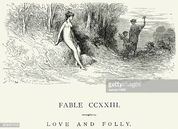 la fontaine's fables - love and folly - venus roman goddess stock illustrations, clip art, cartoons, & icons