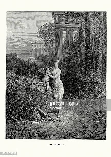 la fontaine's fables - love and folly - aphrodite stock illustrations, clip art, cartoons, & icons