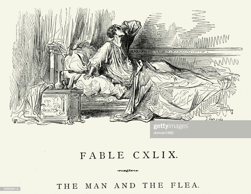 Fábulas-La Fontaine de homem e a Pulga : Ilustração de stock