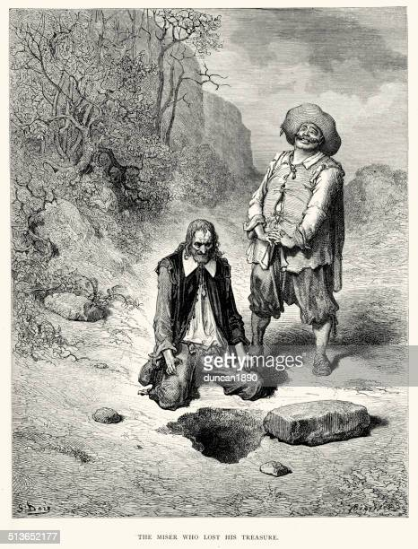la fontaine's fables - miser who lost his treasure - buried stock illustrations, clip art, cartoons, & icons
