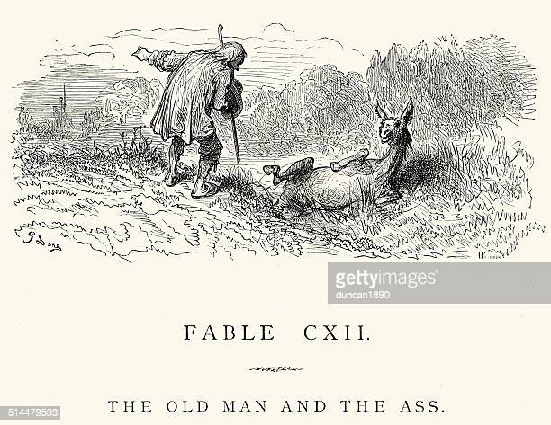 ilustraciones, imágenes clip art, dibujos animados e iconos de stock de la fontaine las fábulas hombre y la ass - mula